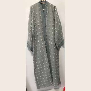Grey Button-Up Abaya