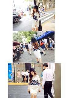 Korean style print white dress