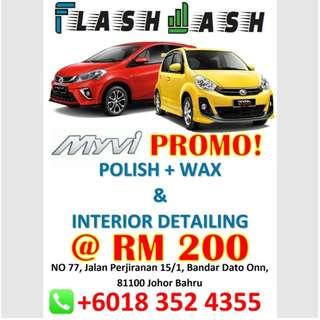 Perodua MyVi Hari Raya Polish & Wax FLASHWASH Promo!!