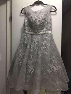 超靚 灰藍色 姊妹裙 晚裝