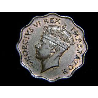 1946年英屬塞浦路斯(British Cyprus)1皮阿斯特(Piastre)花形銅幣(英皇佐治六世像,原光好品