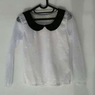 Code : TOP 14 lace brukat blouse korea