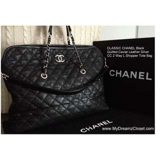 "CLASSIC CHANEL Black Quilted Soft Caviar Leather Silver CC 2 Way 15"" Shopper Tote Bag"