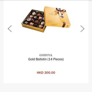 Godiva gold chocolate 14 pieces