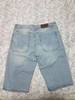 selling denim knee length shorts