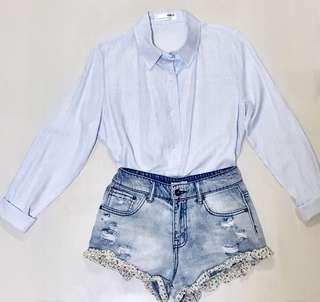 Korean Style Blouse with Light Blue Stripes