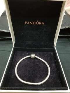 Pandora snake chain silver bracelet with round clasp