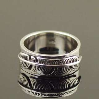 Japan Gothic Jewelry Goro Feather 925 Sterling Silver Ring, Finger Loop