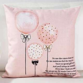 Pink balloons cushion cover