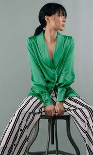 Jade Green Sleek Luxe Blazer shirt with subtle ballooned sleeve
