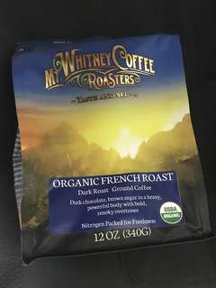 美國直送 Mt Whitney Coffee Roasters ,Organic ,French Roast (Dark Roast)Ground Coffee (12oz , 340g)