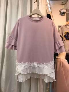🚚 東大門正韓 荷葉邊蕾絲下擺T-shirt 紫紅