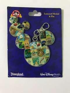 Mickey Mouse Lanyard Medal and Pin (Disneyland)
