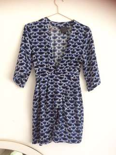 Alice In The Eve Blue Watercolour Wrap Dress
