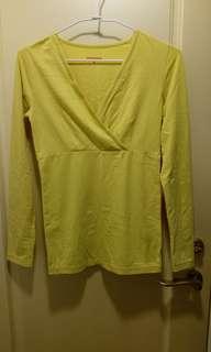 🚚 [mamaway媽媽餵]有兩件胸前開叉哺乳衣衛生衣黃色條紋灰色條紋