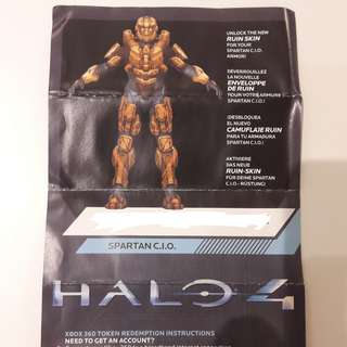 Halo 4 Ruin Skin (Spartan CIO Armor) redeem code - Xbox 360