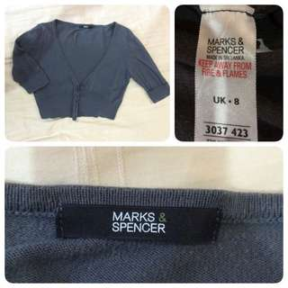 Marks & Spencer Cropped Cardigan In Grey