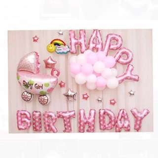 <In-stock> Happy Birthday Party decoration (Pink)