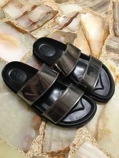 Silver slip on double strap sandals