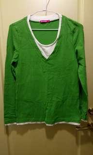 🚚 [mamaway媽媽餵]哺乳衣圓領配色上拉式長袖哺乳衣