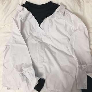 Korean Two Piece White Shirt