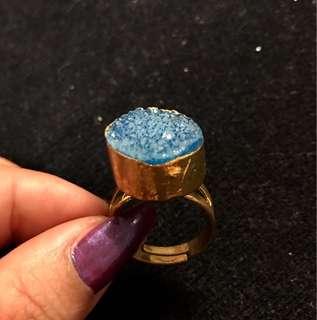Blue Druzy Stone gold ring