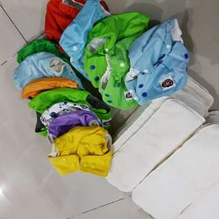 BABY REUSABLE CLOTH POCKET DIAPERS WITH INSERTS. TAKE ALL!