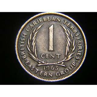 1963年英屬東加勒比海(British East Carribbean Territories)1仙銅幣(英女皇伊莉莎伯二世像)