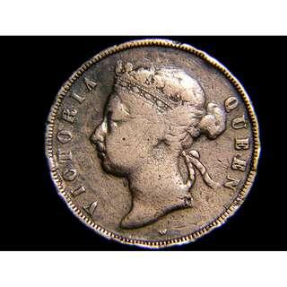 1875年英屬海峽殖民地(British Straits Settlements)1仙(Cent)銅幣(英女皇維多利亞像)