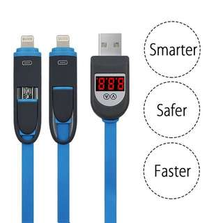 2 in 1 USB Cable Micro USB + Lightning Digital Indicator Cable