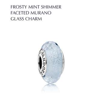 Bnis Pandora FROSTY MINT SHIMMER FACETED MURANO GLASS CHARM