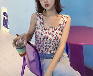 [PO] Ribbed Floral Stretchable Crop Top