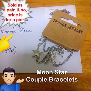 Moon Star couple bracelets  [length customisation value buy friendship valentine anniversary day gifts handmade uncle.anthony uncle anthony uac]  FOR MORE PICS & DETAILS, 👉 http://carousell.com/p/153964378