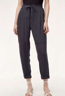 Aritzia Wilfred black Marais silk crop pants with white drawstring