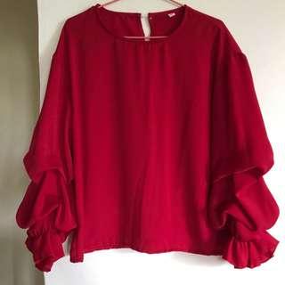 Red Ruffles Sleeves Chiffon Blouse