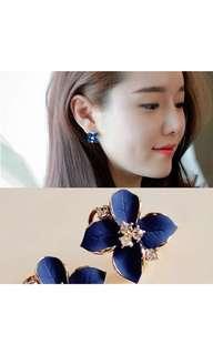 Korean Earrings- elegant blue flower earrings
