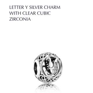 Bnis Pandora LETTER Y SILVER CHARM WITH CLEAR CUBIC ZIRCONIA