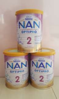 3 tins of Brand New Nestle Nan Optipro Stage 2 400g