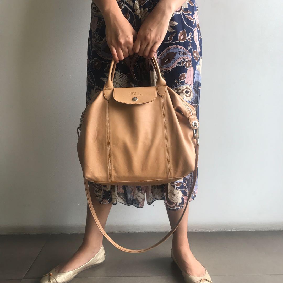 Authentic Longchamp Le Pliage Cuir Medium Leather Handbag, Women's ...