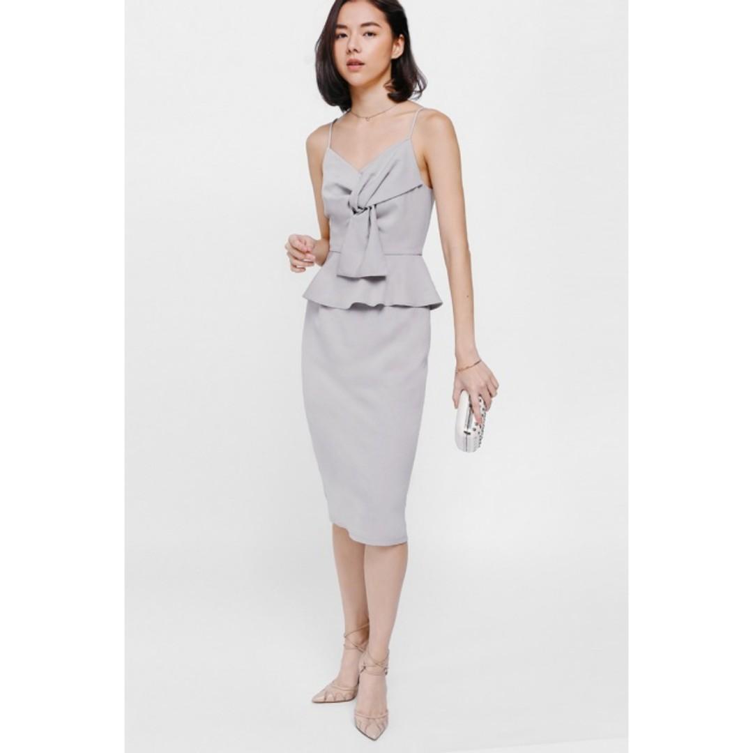 9baa97383608 BNWT Love Bonito Qellana Twist Knot Peplum Midi Dress, Women's ...