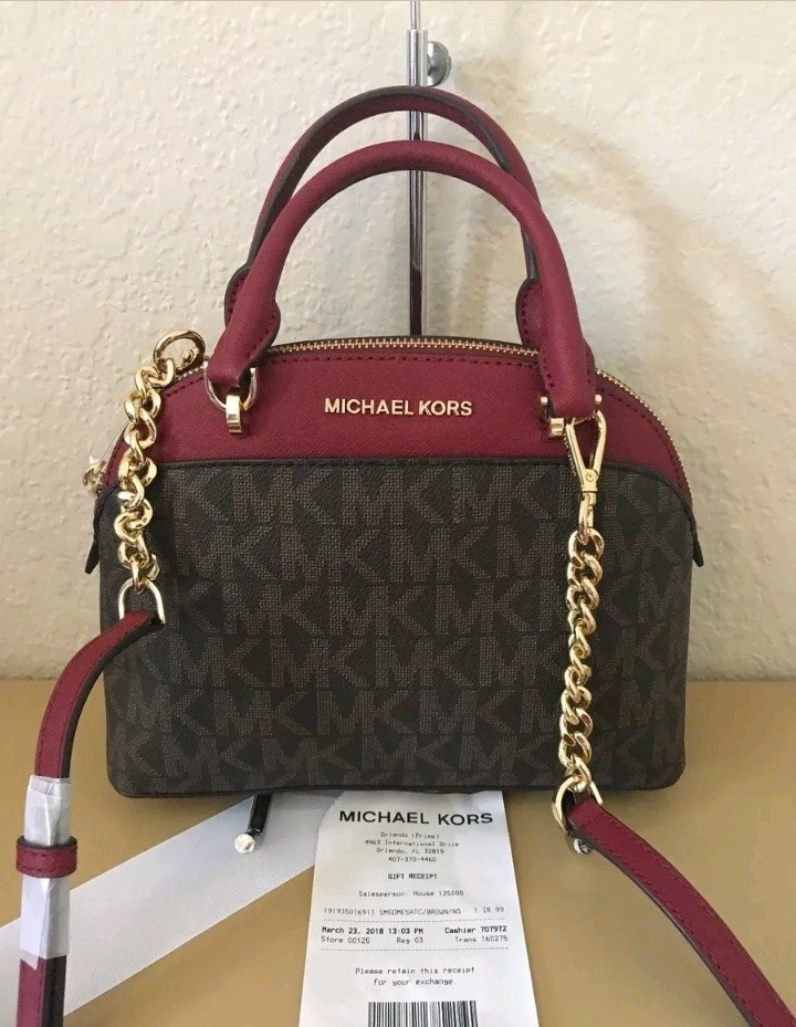 b78cff29f68b ... italy bnwt michael kors small dome satchel bag brown cherry preloved  womens fashion bags wallets on