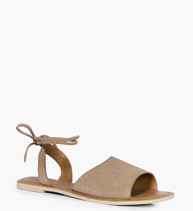 BOOHOO - Suede Lace Up Sandals Size 10