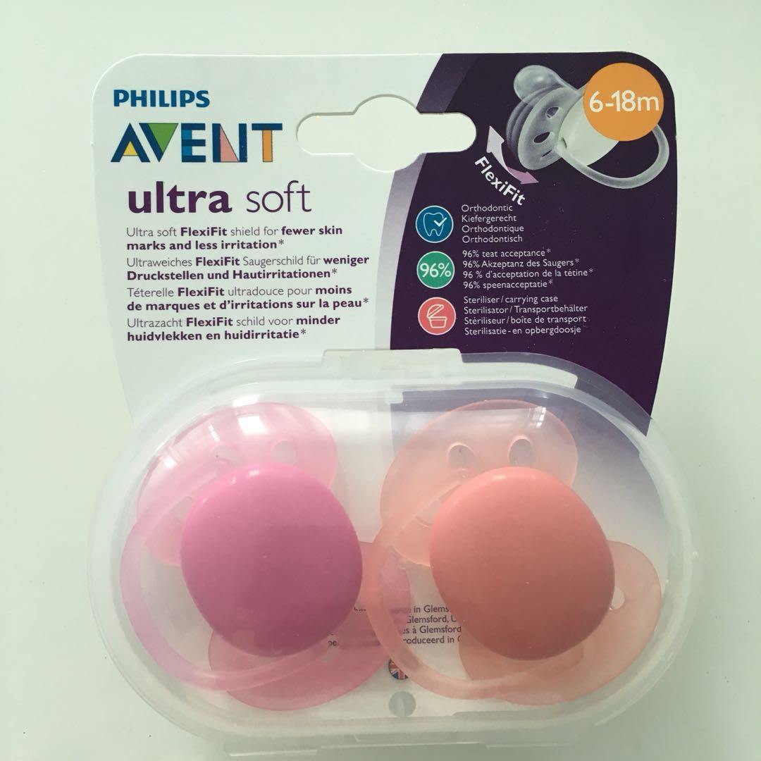 Brand New Sealed Philips Avent Ultra Soft Pacifiers Babies Kids 2 Pack Orthodentic Pacifier Soother 6 18m Pink Nursing Feeding On Carousell