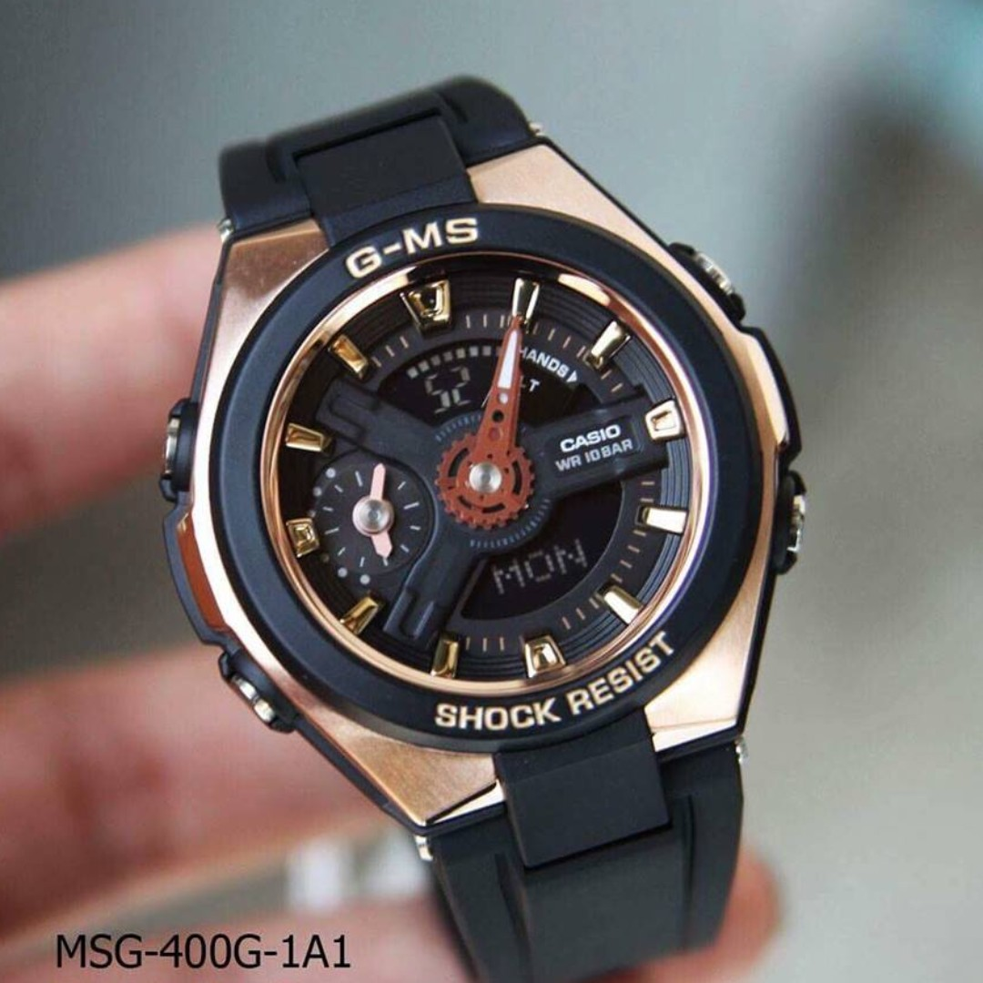 16d2a8b2559 Casio GMS G-MS Baby-G BabyG Series Ladies Black with Rose Gold Watch ...