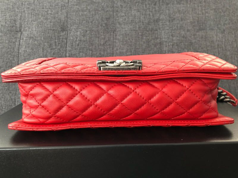 Chanel Red Medium Boy Reverso Flap Bag