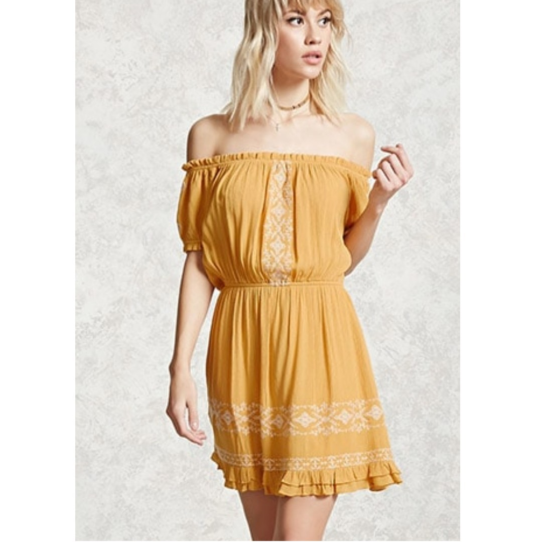 4141751f9b6 Forever21 Yellow Embroidered Off The Shoulder Peasant Dress, Women's ...