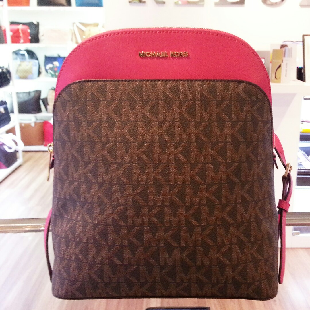 b75754a1407b Michael Kors Emmy Large Backpack Brown / Ultra Pink, Women's Fashion, Bags  & Wallets on Carousell