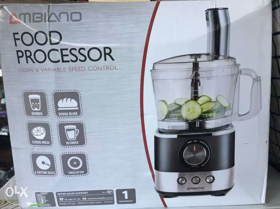 New Unuse Ambiano Food Processor 1000W and Variable Speed