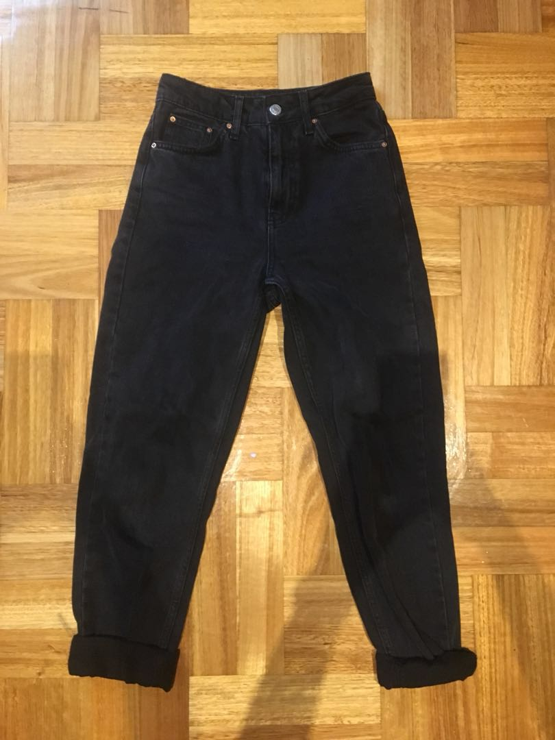 TOPSHOP Mom Jeans - BLACK SIZE W24 L32