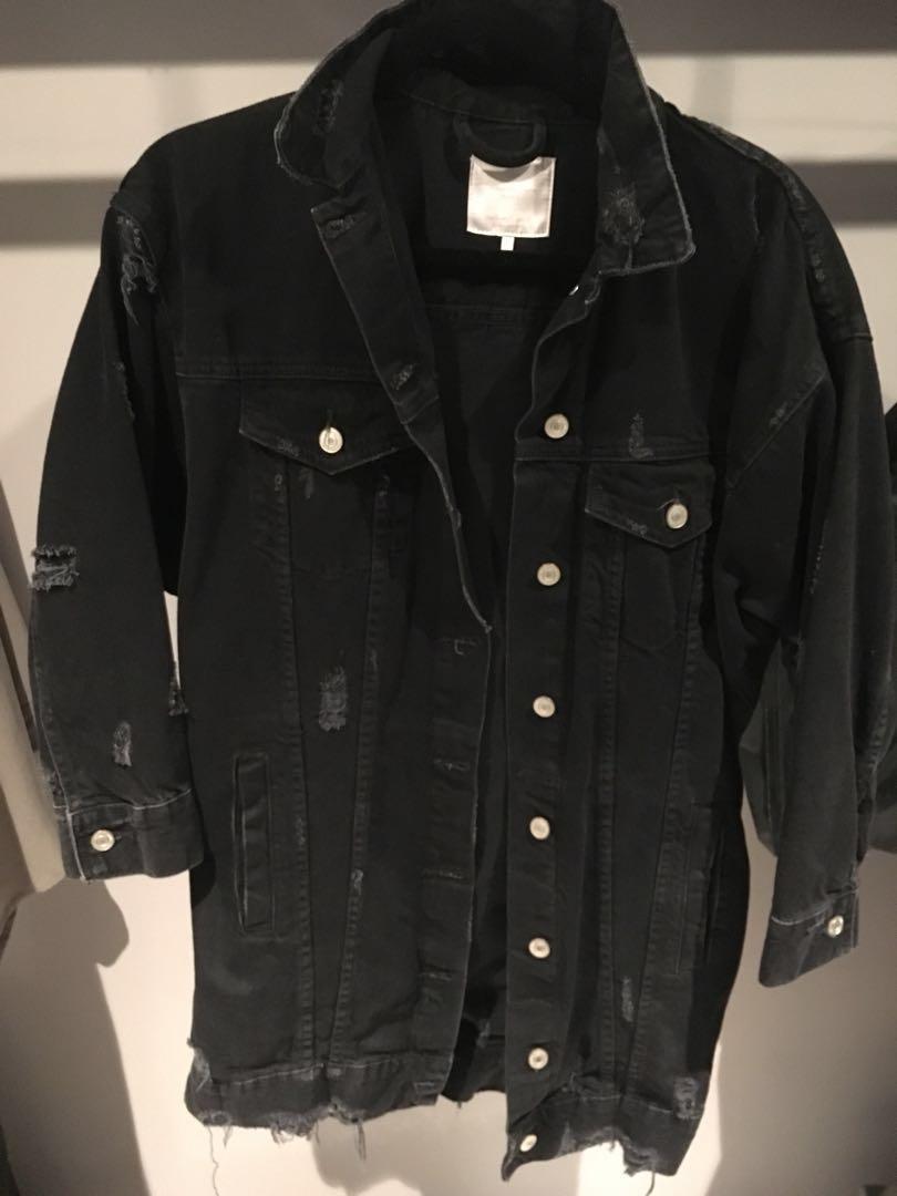 e90c2f49 Zara distressed over sized denim jacket